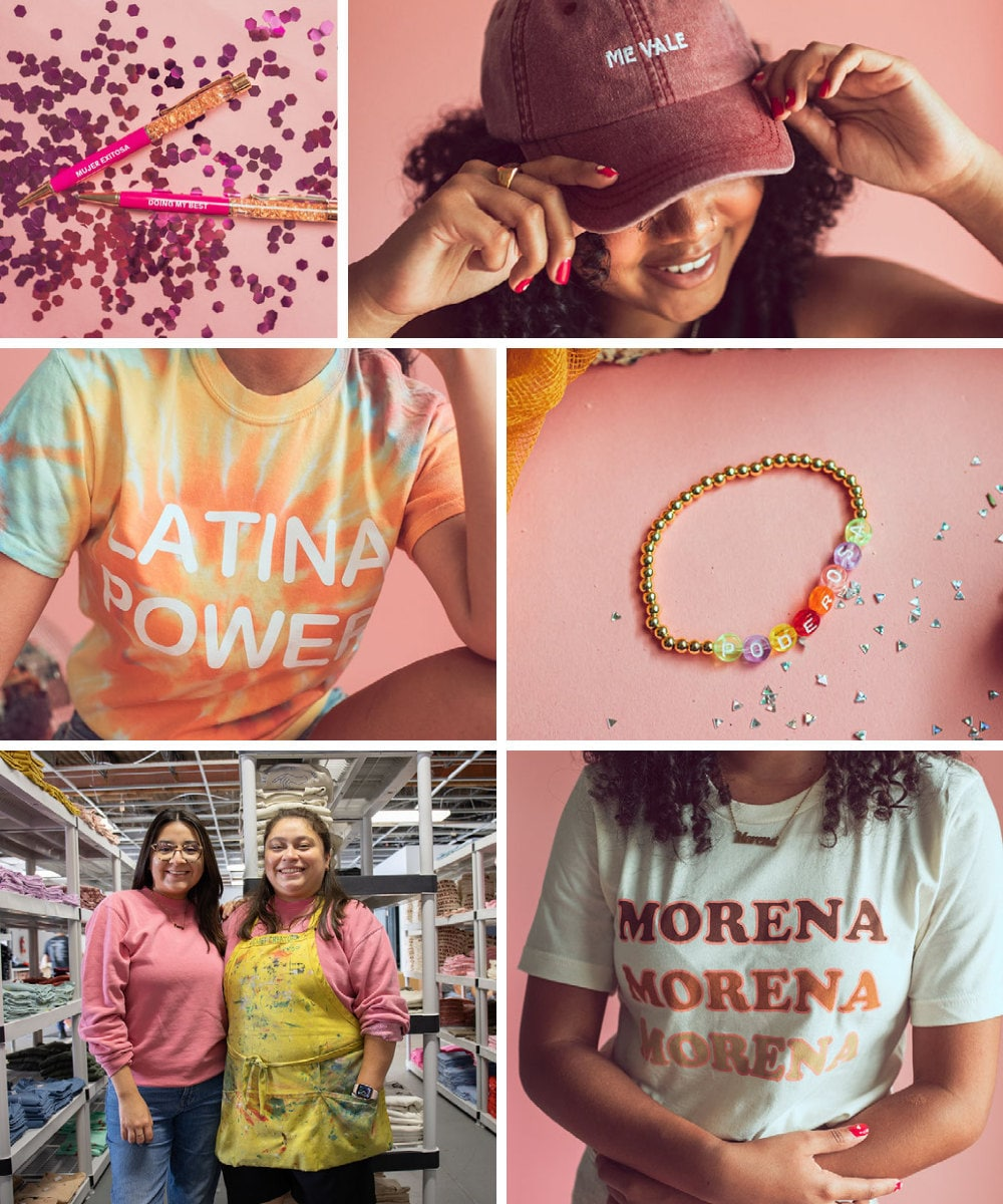 A collage of empowering apparel and accessories from Jen Zeano Designs on Etsy.