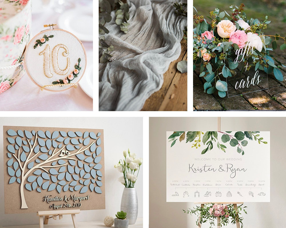 A collage of reception decor from Etsy