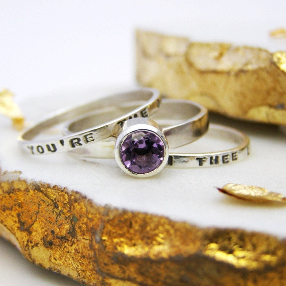 Personalized amethyst stacking ring from Soremi Jewellery