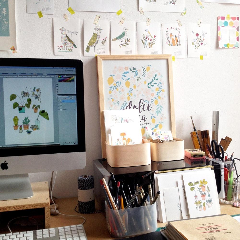 Yolande's desk and workspace