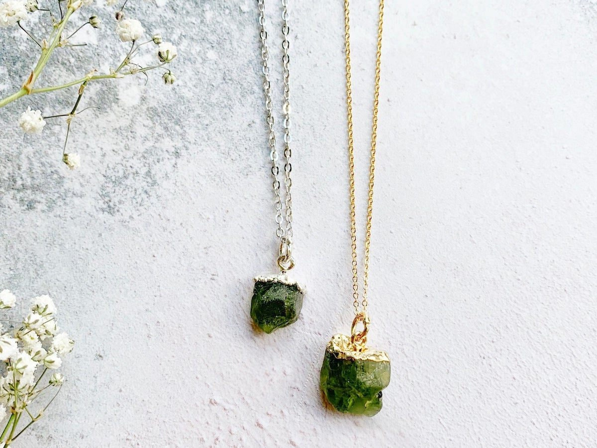 Two raw peridot pendant necklaces from Eclectic Eccentricity
