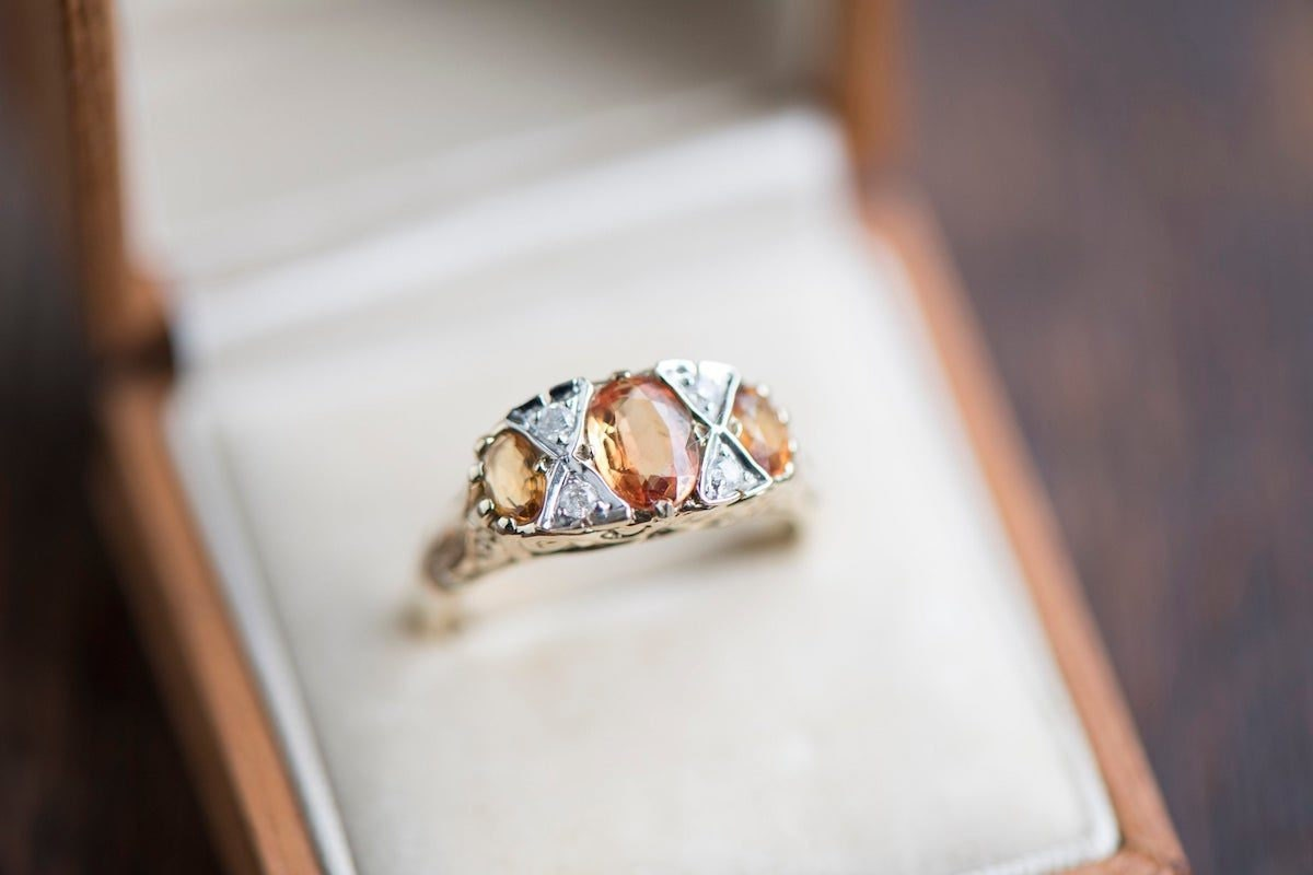 Vintage citrine and diamond cocktail ring from KK Vintage Collection