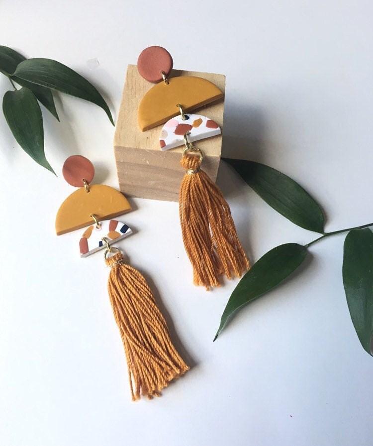 Terrazzo tassel earrings from Analy Jewelry