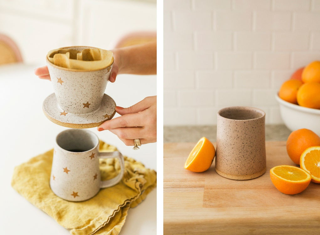 Star mug and pour-over and pink tumbler from the A Beautiful Mess x Etsy collection