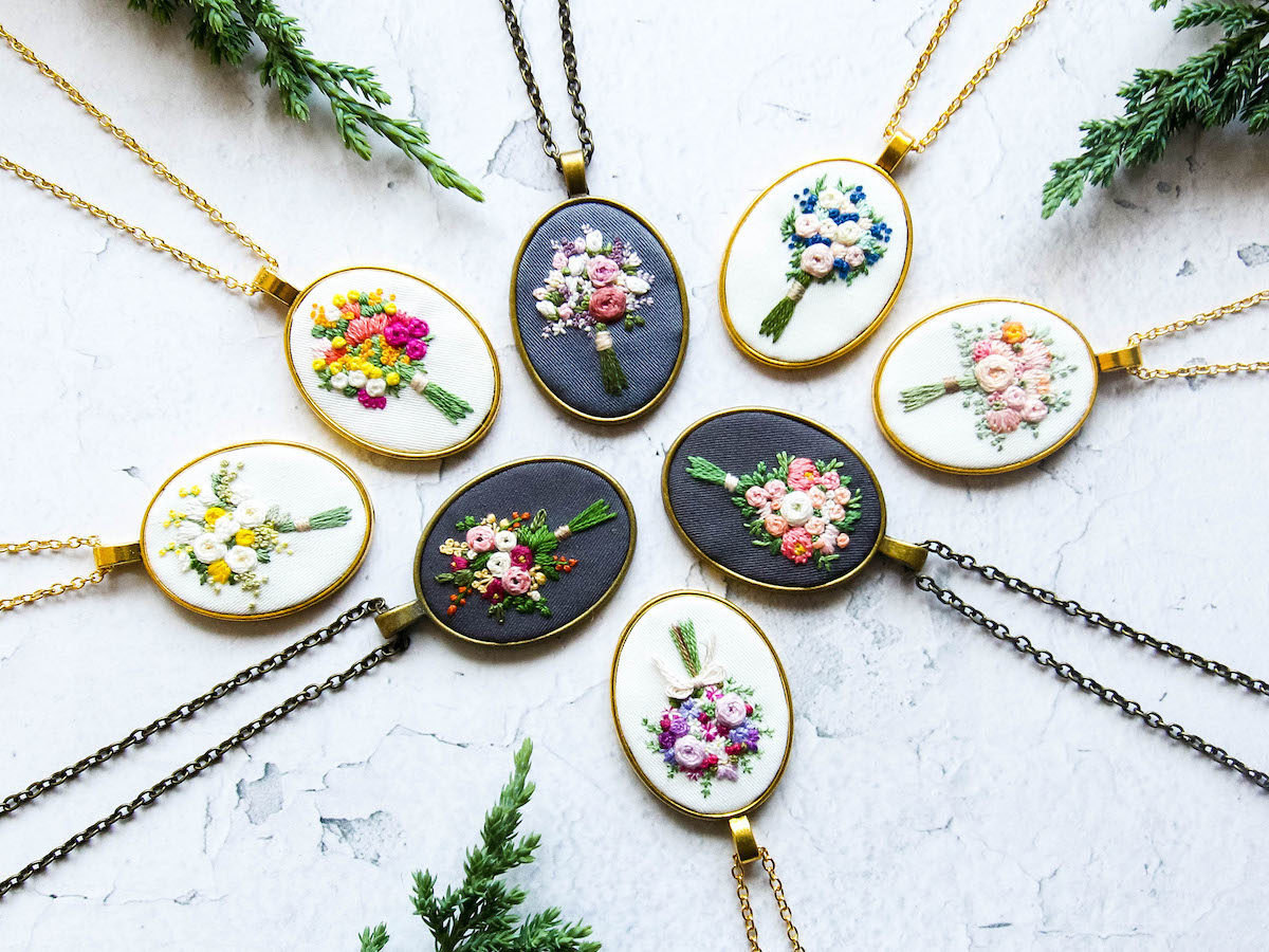 An assortment of embroidered floral necklaces from Thursday Craft Love