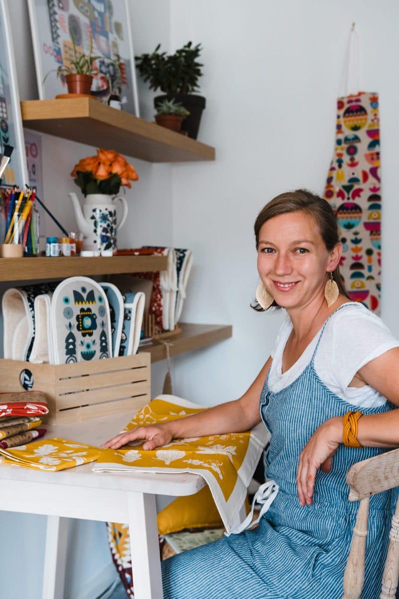Portrait of Softer and Wild pattern illustrator Tatiana Nedialkova in her UK studio.