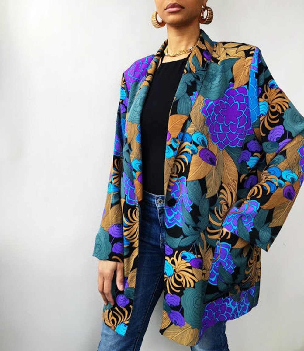 A bold vintage floral blazer from Threads of Habit