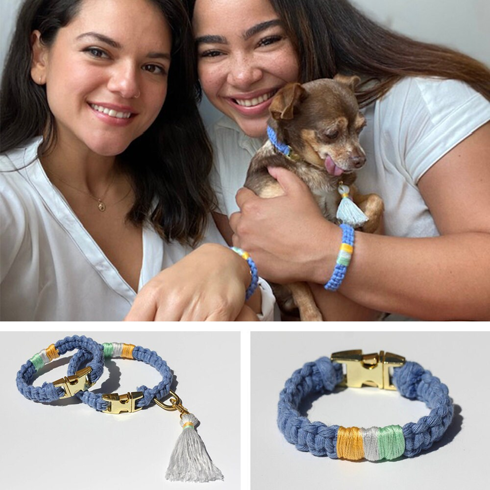 A collage of images showing two women and their pet chihuahua modeling their matching friendship bracelets and dog collar.