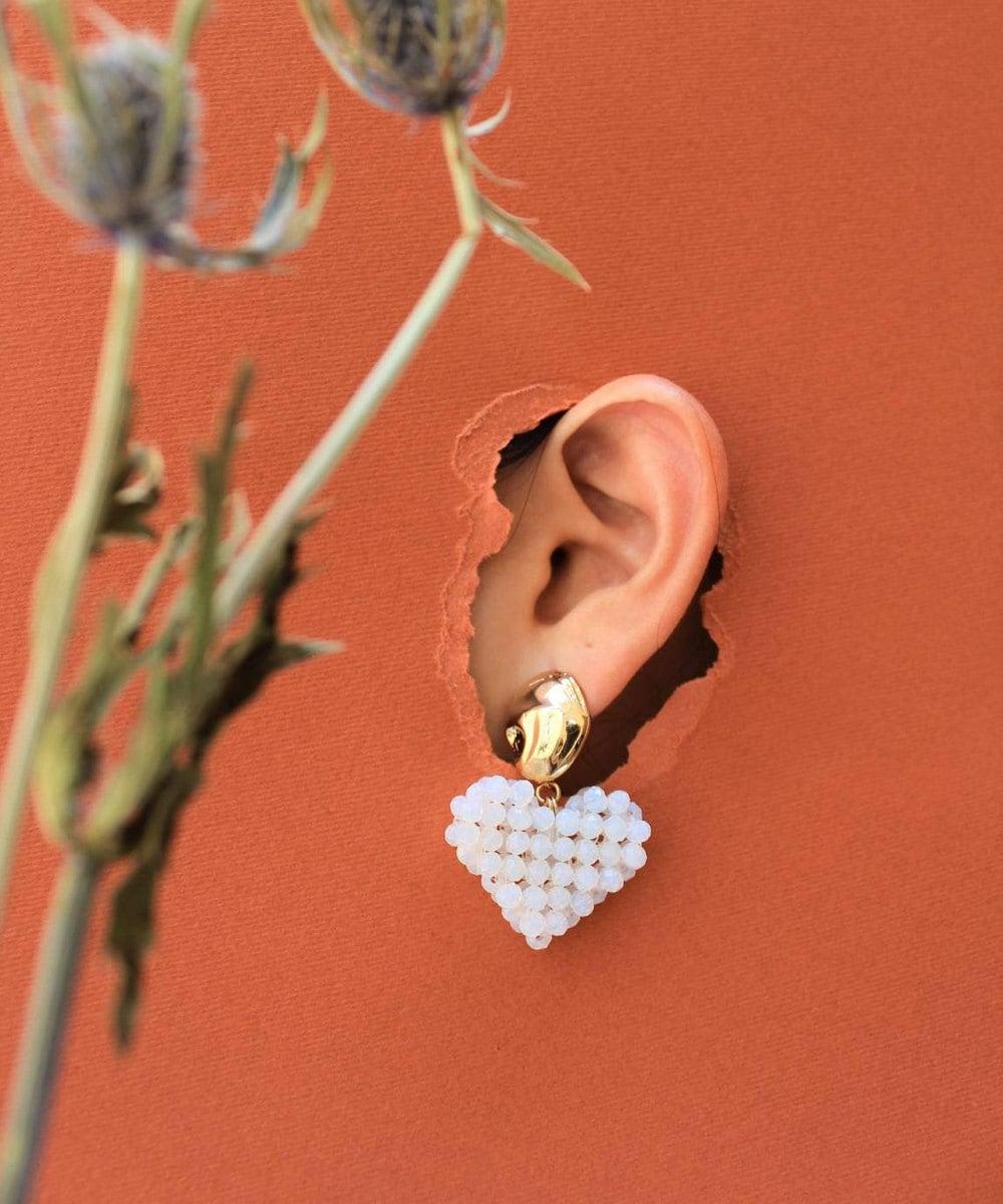 Beaded heart earrings from TSUNJA