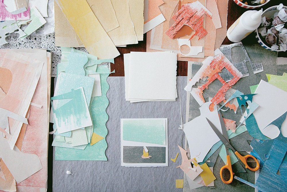 Making collages with colorful paper