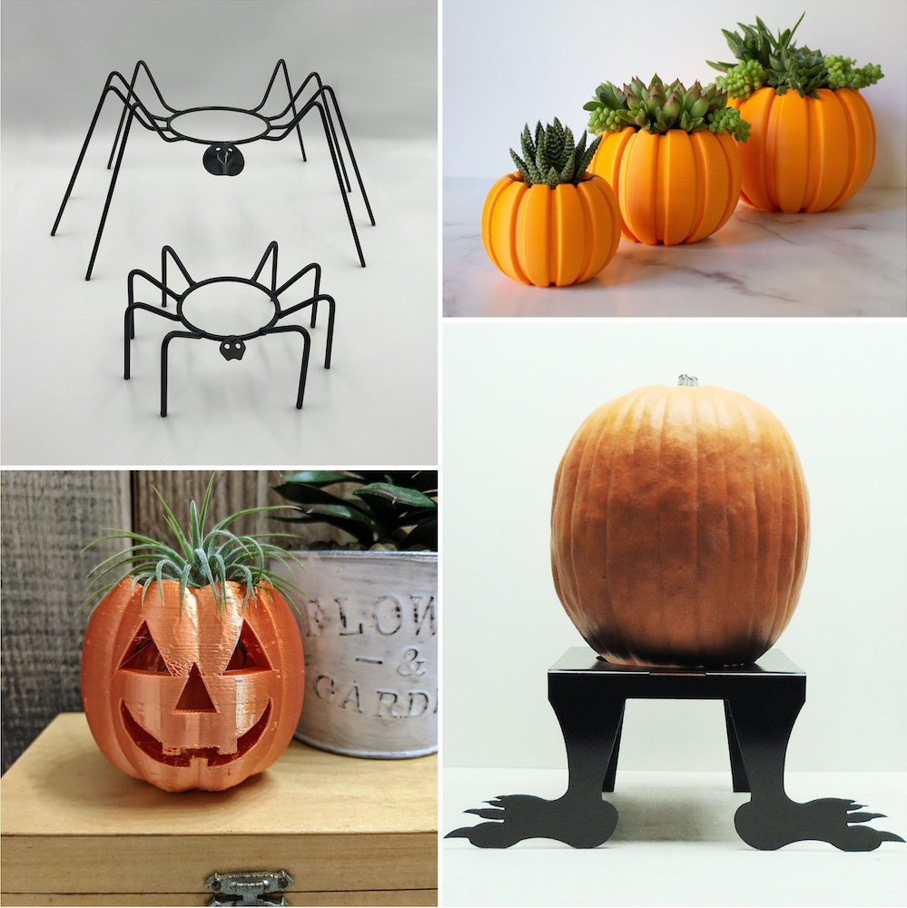 Pumpkin planters and jack-o-lantern stands for Halloween, from Etsy