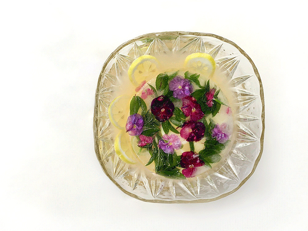 An animated gif of the finished punch surrounded with various decorative fruits and herbs.