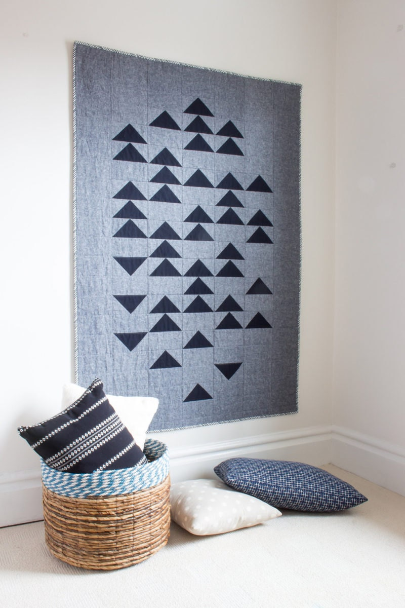 Gray and black quilt from Etsy seller Homeday Studio