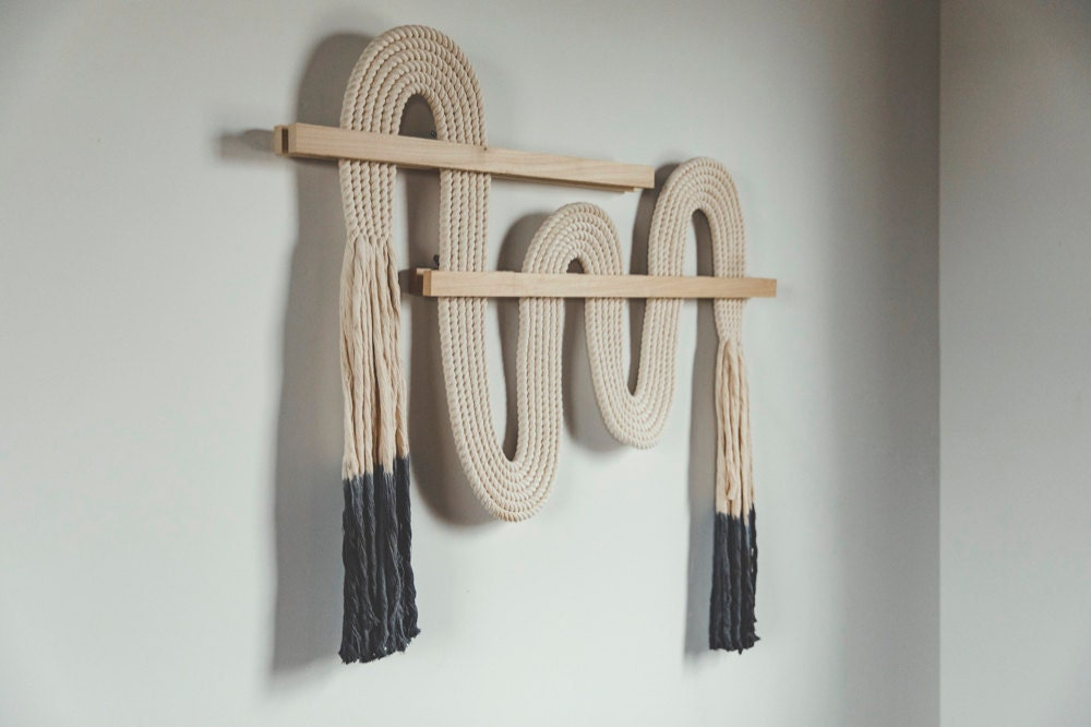 """An extra-large """"Vibrato"""" macrame wall-hanging from Candice Luter."""
