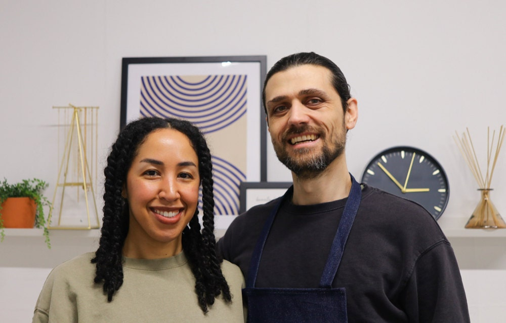 A portrait of Sabrina and her partner Abe in their workshop.