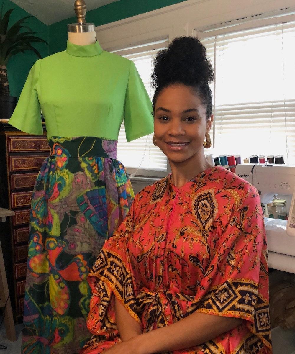 A portrait of vintage clothing seller Halima Garrett in her New Jersey studio.