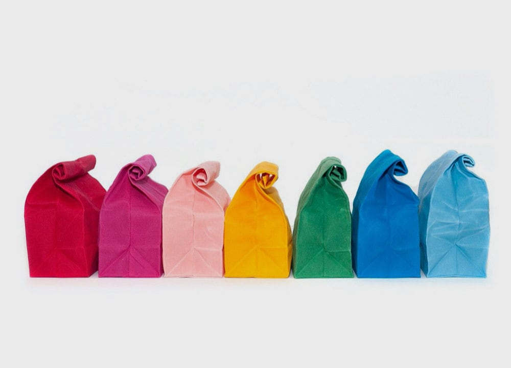 A rainbow of waxed canvas lunch bags from WAAM Industries