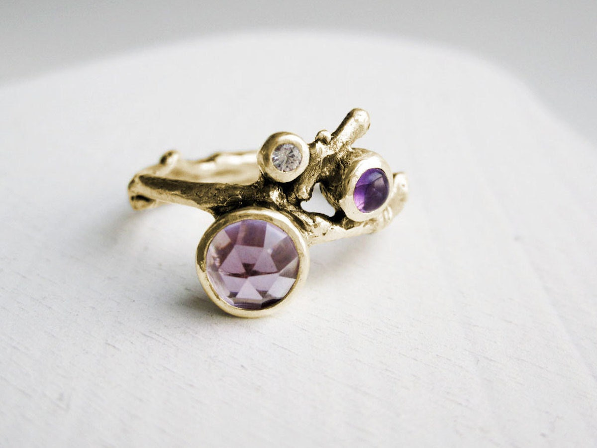 Amethyst gold twig ring from Every Bear Jewel