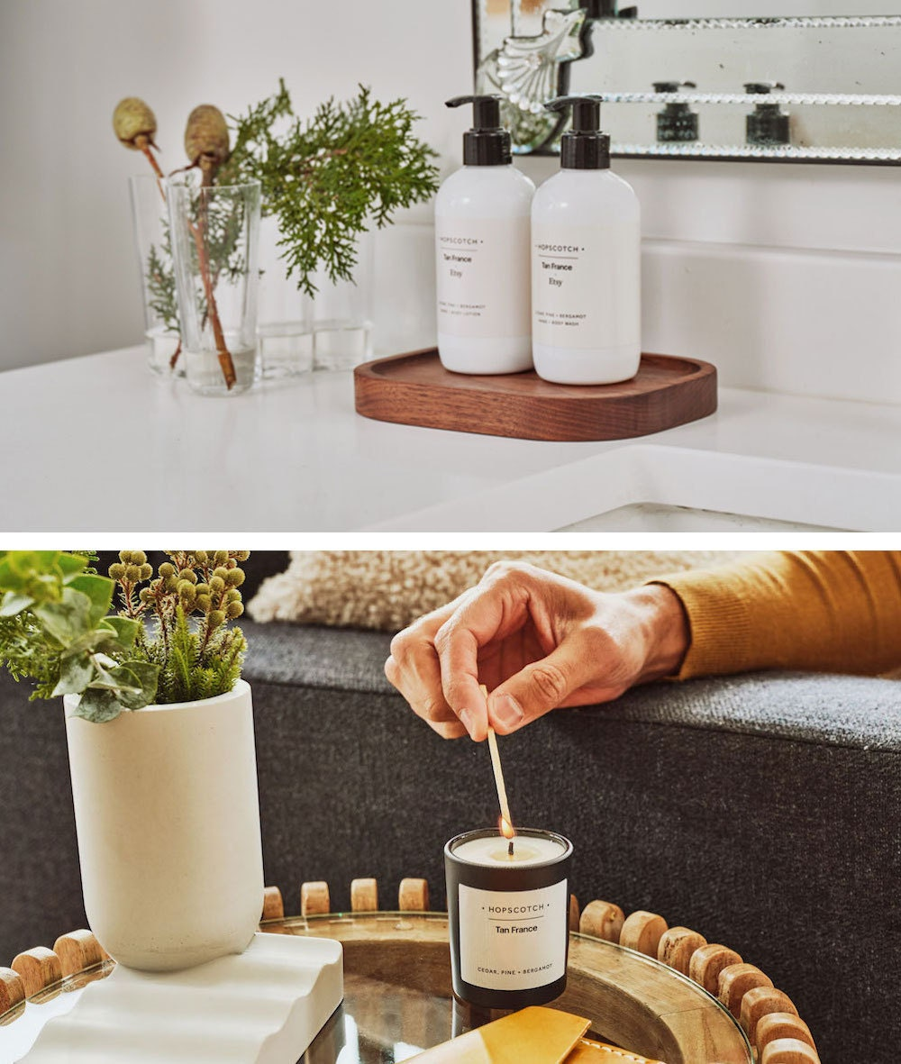 A collage of styled images of Hopscotch London hand soap and soy candles from the Tan France x Etsy collection