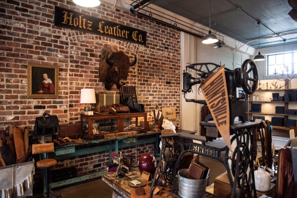 The Holtz Leather Co. brick and mortar shop in Huntsville, Alabama.