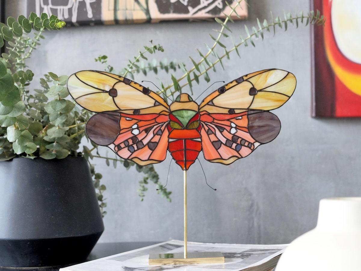 A stained glass butterfly by artist Elena Zaycman