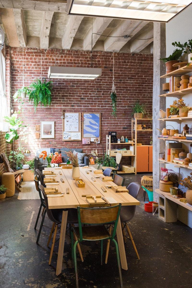 Melanie's Oakland studio, where she holds spoon carving workshops