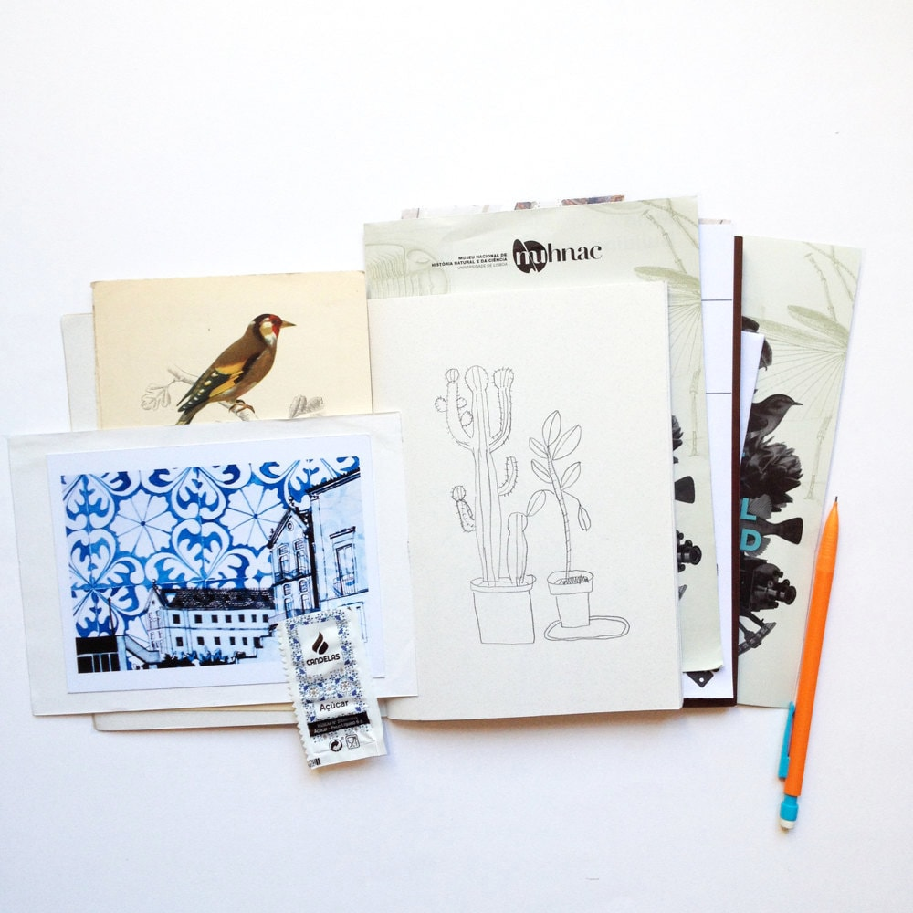 Various found papers and clippings from Yolande Six's sketchbook