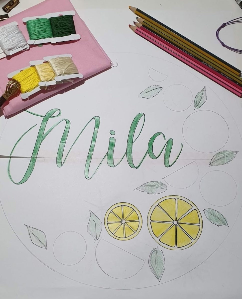A sketch of a custom name embroidery hoop adorned with lemons