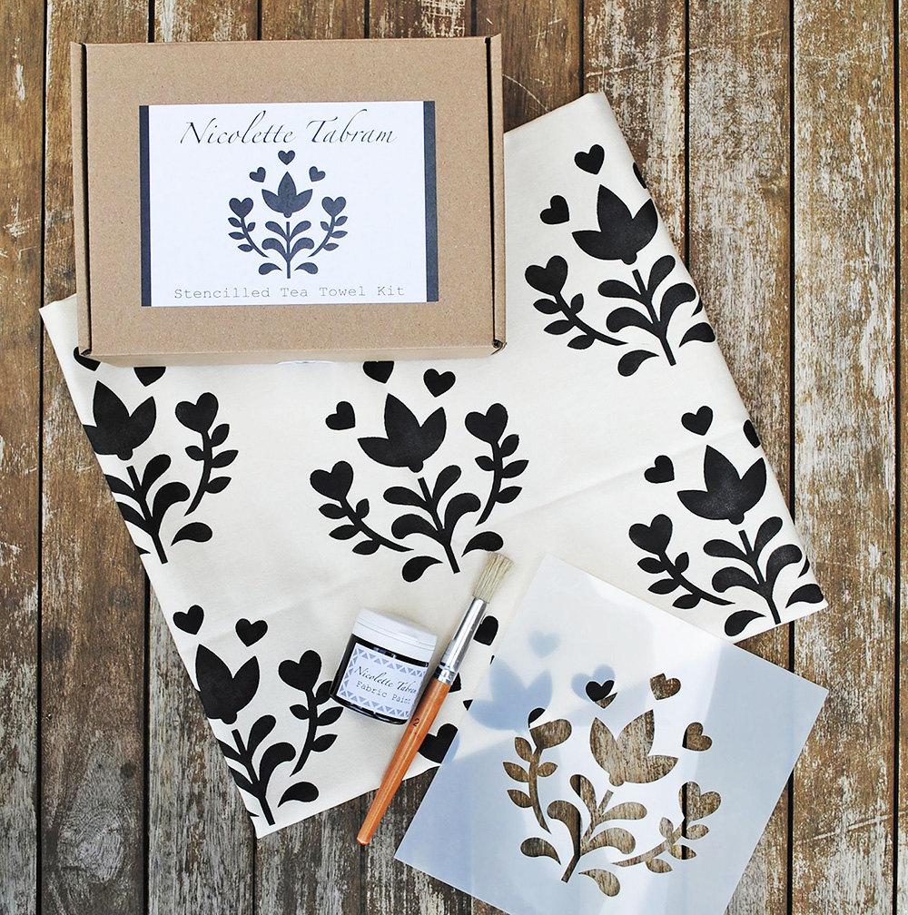 A kit to make a stenciled tea towel
