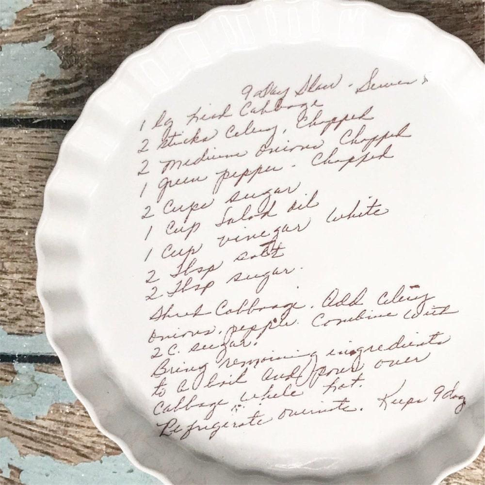 A handwritten recipe pan from Prairie Hills Pottery