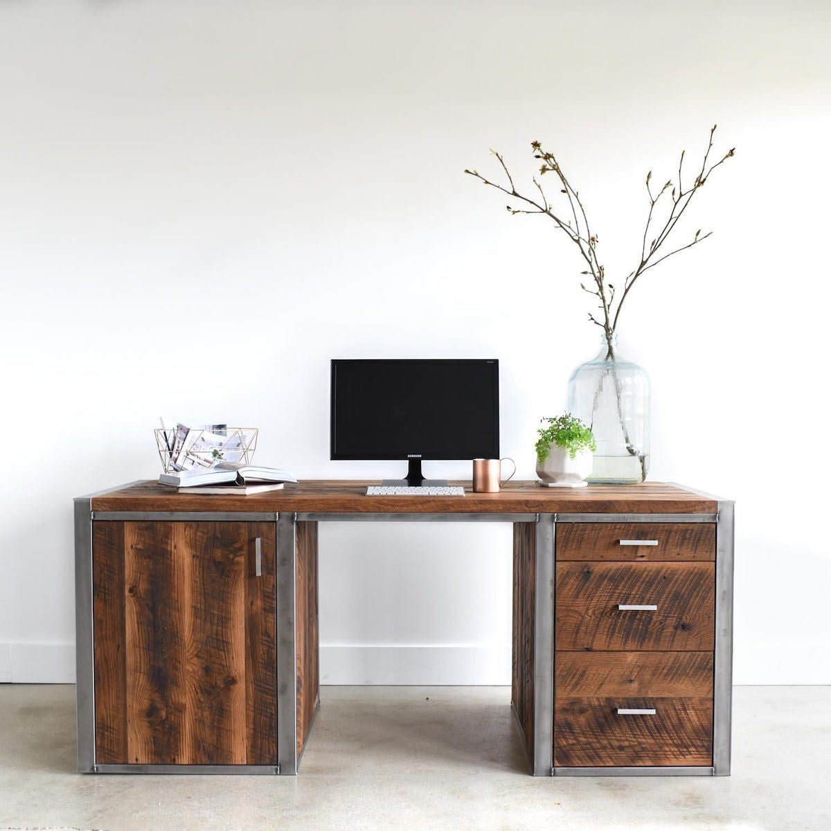 Reclaimed wood and steel desk from What WE Make