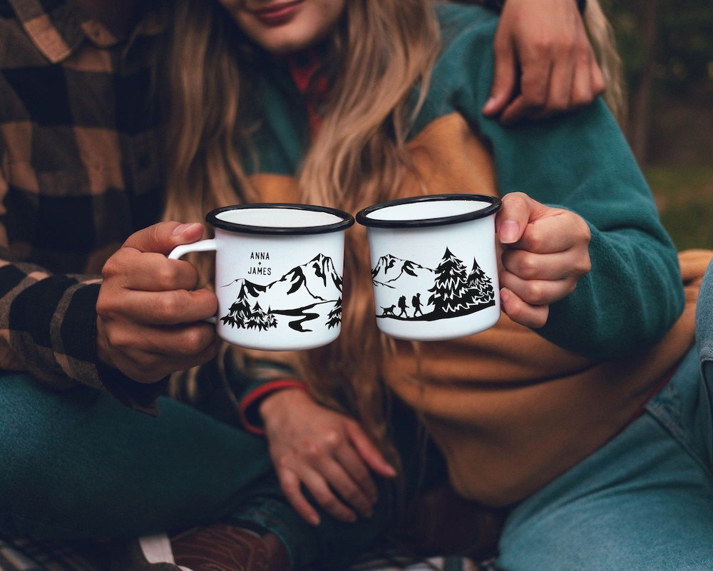 Personalized enamel camping mugs from ODYSEA store on Etsy