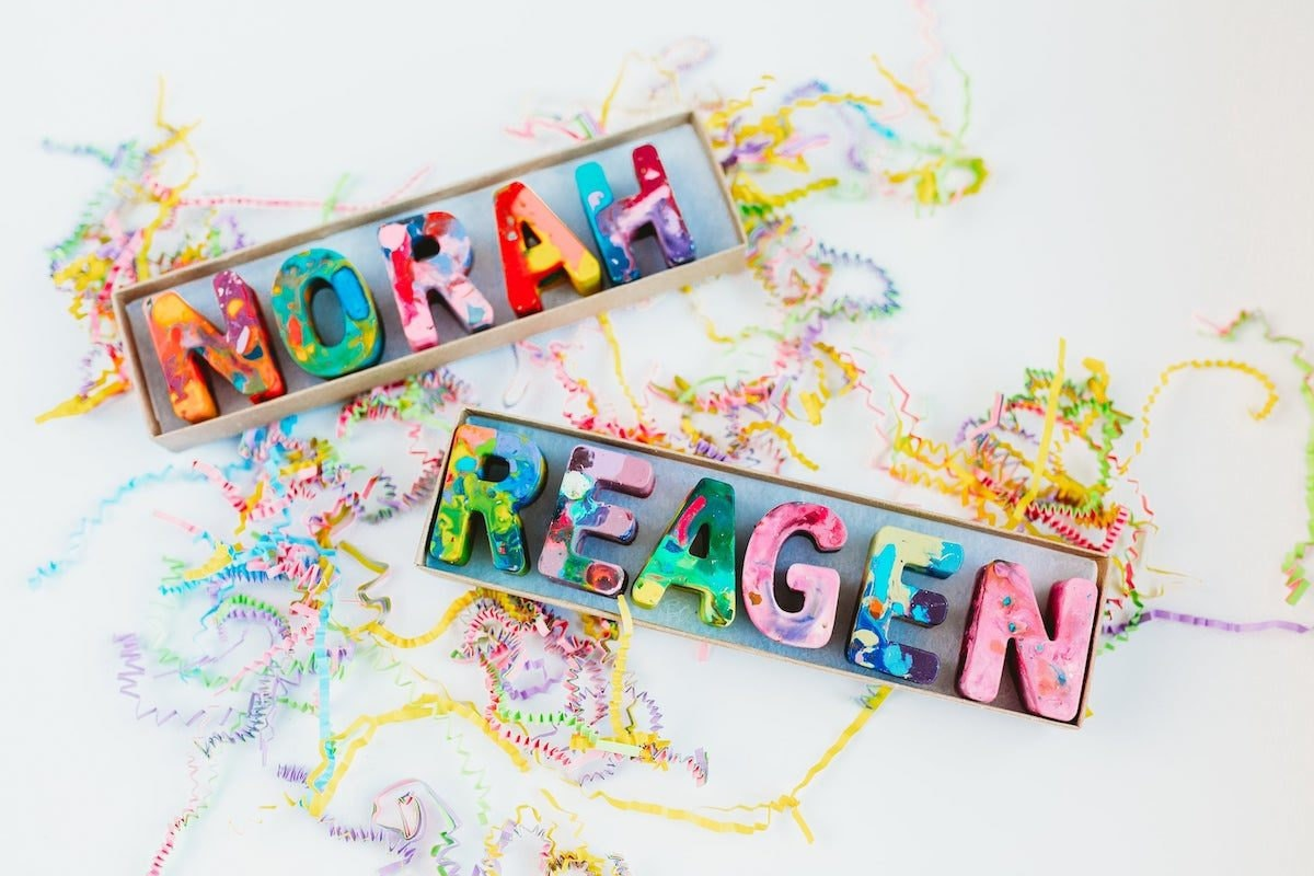 Recycled alphabet crayons from Art 2 The Extreme