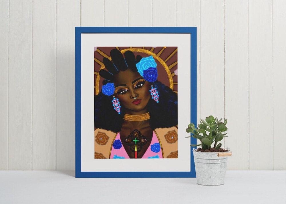 """A framed """"Black Madonna"""" art print from Shannon's Artwerkk on Etsy"""