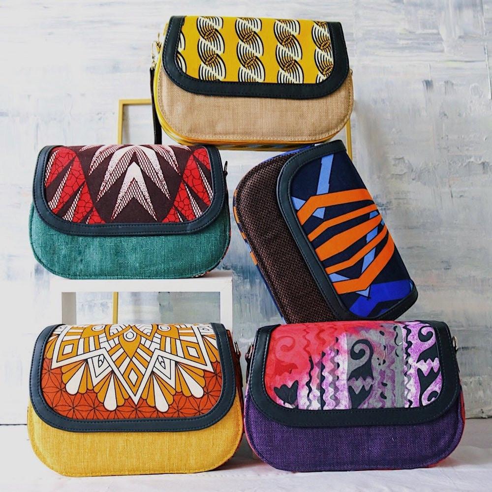 Assorted jute and Ankara fabric handbags from CeCe Finery