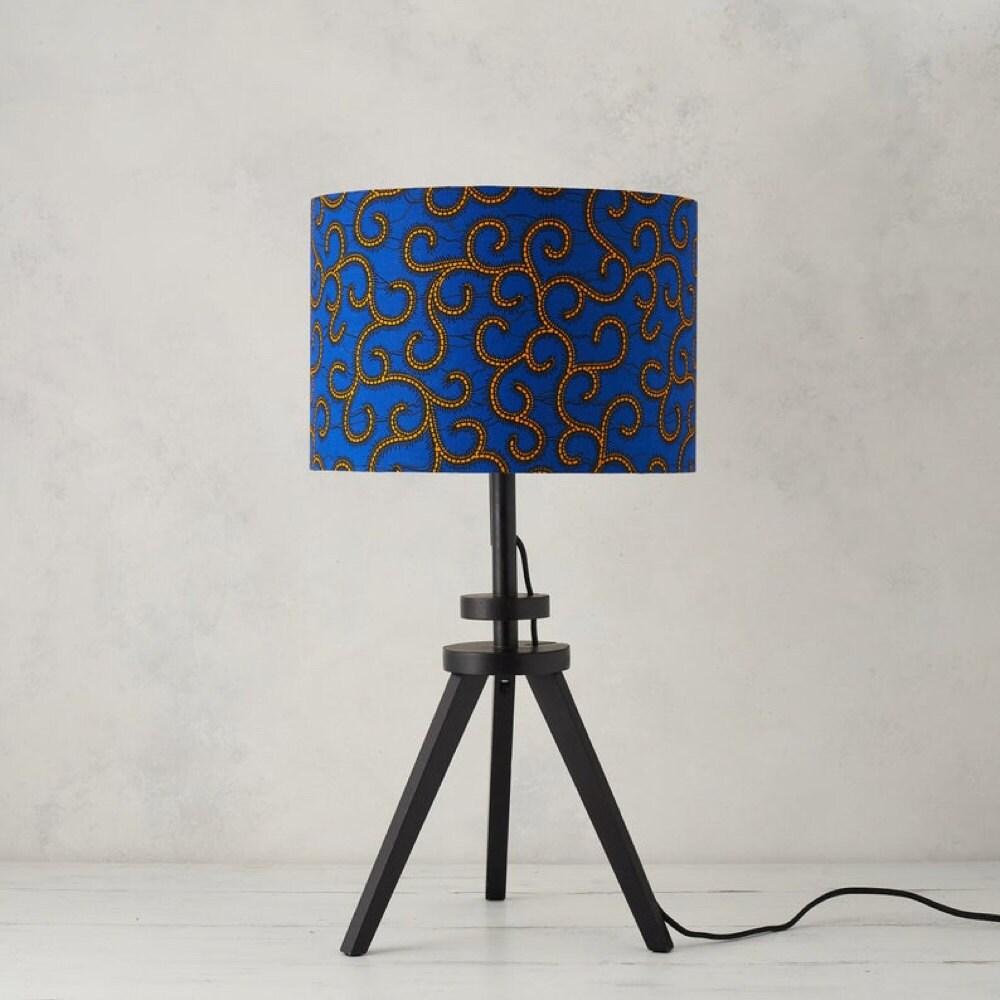 A royal blue swirl African wax print lampshade from Bespoke Binny