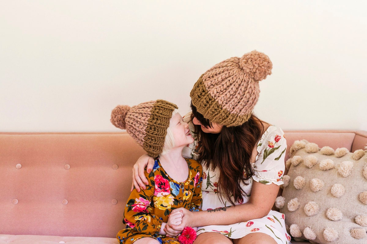 Knit beanies from the A Beautiful Mess x Etsy collection