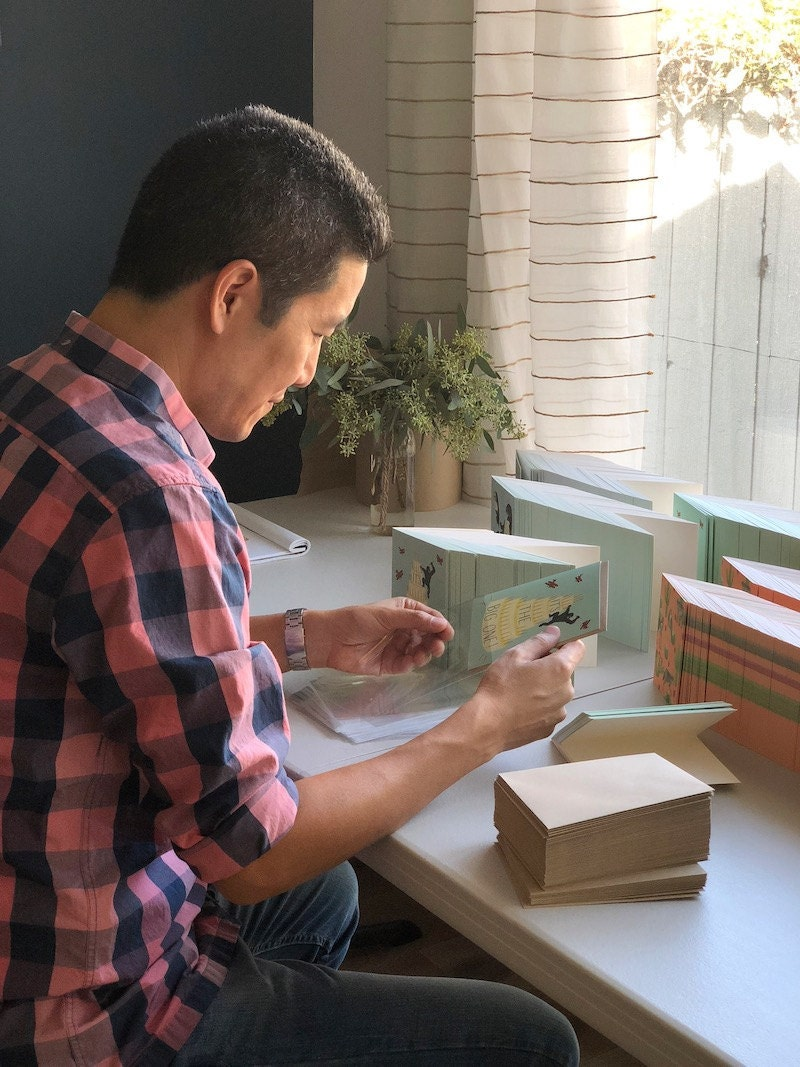 Jim working on packaging cards
