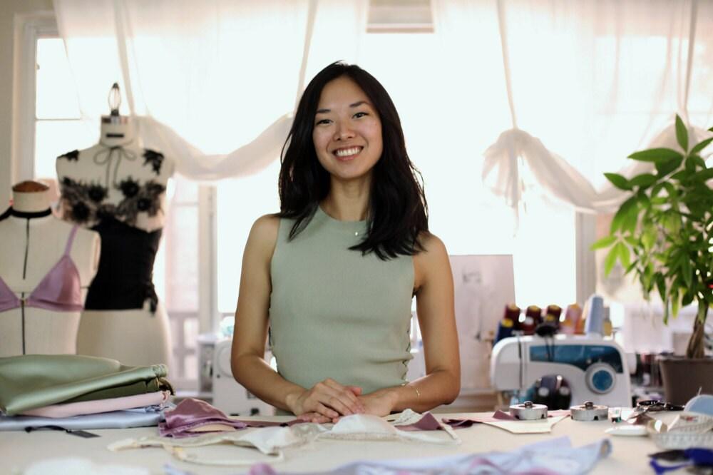 Portrait of lingerie designer Elma Murakami in her San Jose studio