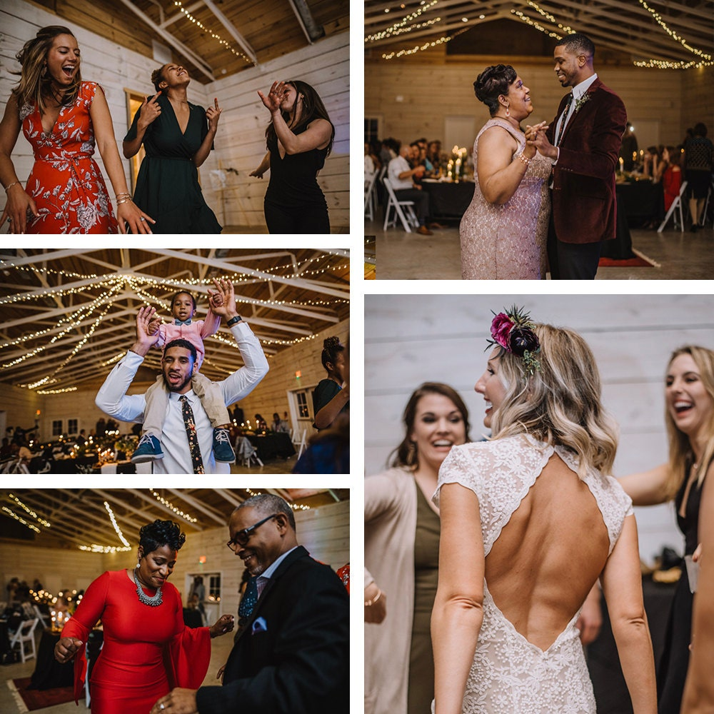 A collage of guests dancing at Emily and Terrell's reception