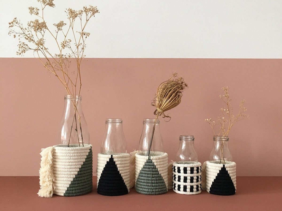Fiber art vases with geometric details