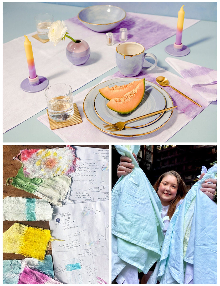 A collage of three images. Clockwise from top: A table set with ombre linens; the maker holding their napkins; a work-in-progress shot.