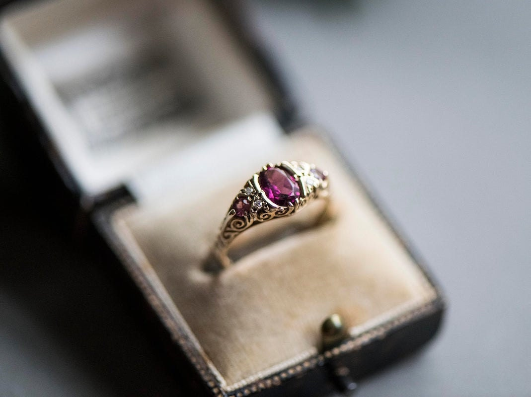 Vintage pink kunzite and diamond ring from KK Vintage Collection