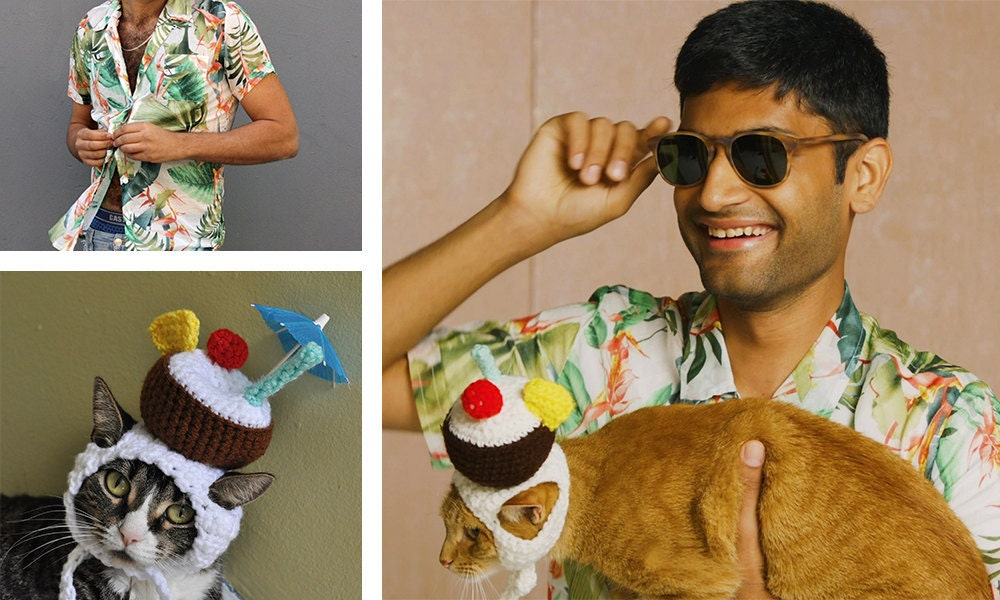 """A collage of items needed for a """"spring breakers"""" cat + human Halloween costume."""