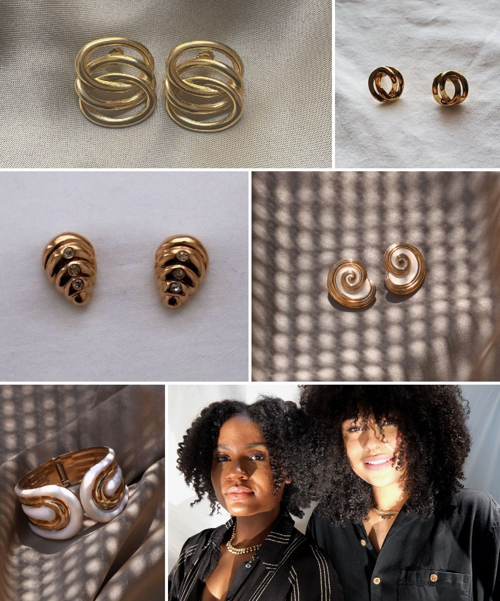 A collage of vintage jewelry from BLACKFEMME pictured alongside a portrait of co-curators Sydney Jackson and Casey Mattis.