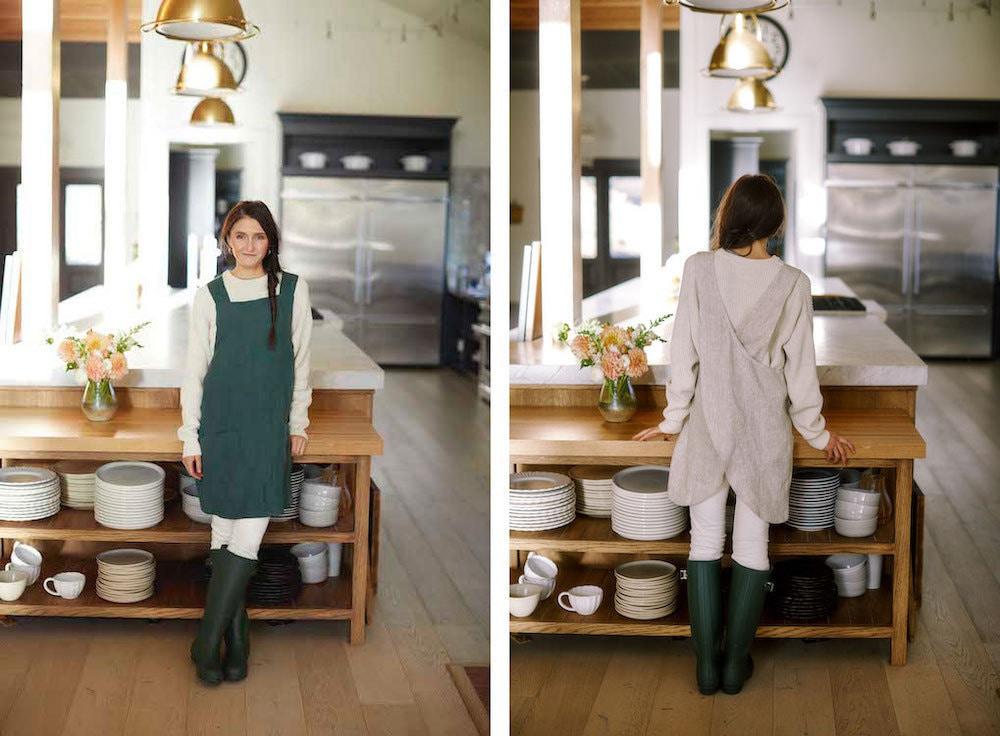 Forest green and oatmeal linen aprons from Salt Shop Handmades