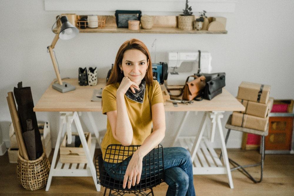 Portrait of Boejack Design shop owner Eda Atay Pastirmaci in her Seattle studio