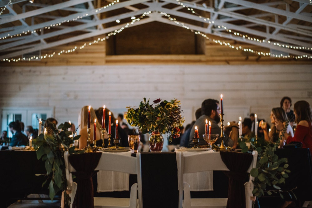Emily and Terrell's reception, glowing with candlelight