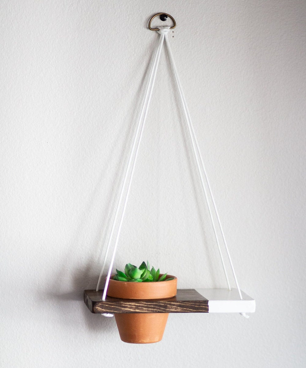 Mini two-tone hanging planter shelf from TheCraftySwirl, $20