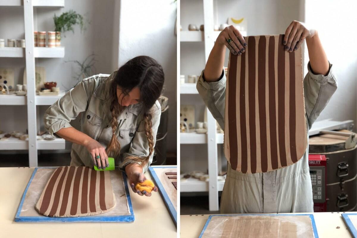 Ceramist Emily Reinhardt works with clay.